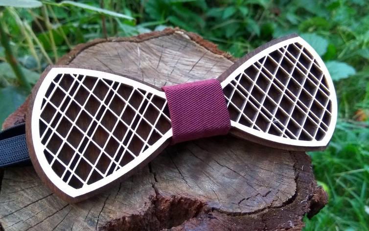 Деревянная бабочка галстук Орнамент Марсал ручной работы, серия Fantasy, фото 2