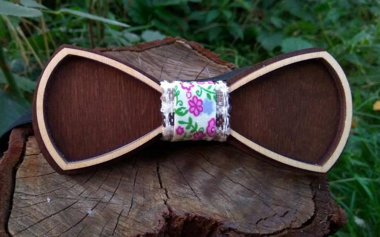 Деревянная бабочка галстук Ободок Цветы ручной работы, серия Fantasy, фото 2