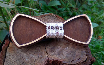 Деревянная бабочка галстук Ободок Клетка ручной работы, серия Fantasy, фото 2