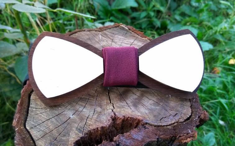 Деревянная бабочка галстук Марсала - Беж ручной работы, серия Fantasy, фото 2