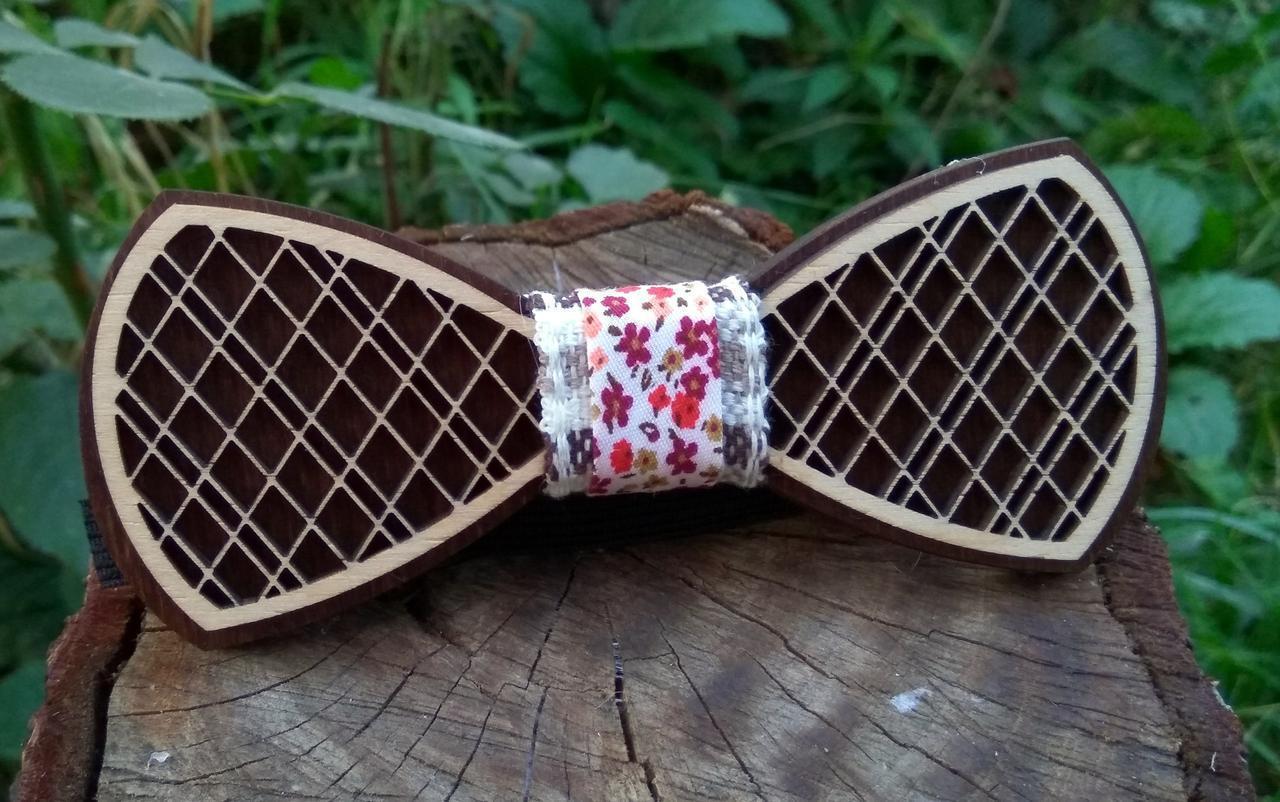 Деревянная бабочка галстук Орнамент Цветы- 2 ручной работы, серия Fantasy