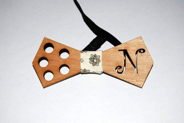 Деревянная бабочка галстук N ручной работы, фото 2