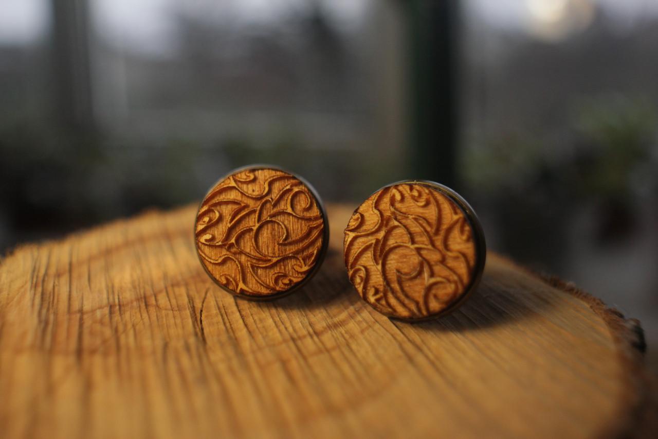 Деревянные запонки № 5 ручной работы