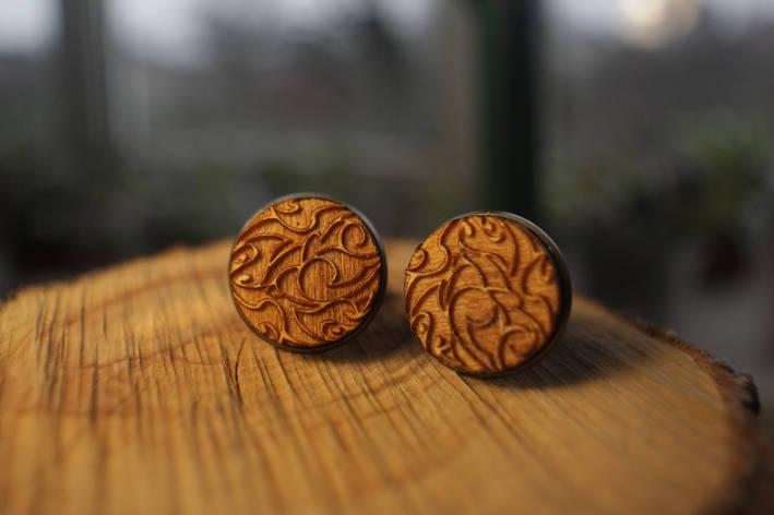 Деревянные запонки № 5 ручной работы, фото 2