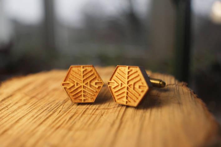 Деревянные запонки № 10 ручной работы, фото 2