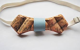 Деревянная бабочка галстук ручной работы из винной пробки №1 , фото 2