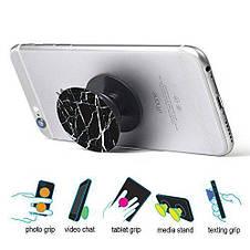 Универсальный держатель-подставка для телефона PopSockets (Ноу-хау крепление на крышку смартфонаПопСокетс) С8, фото 2