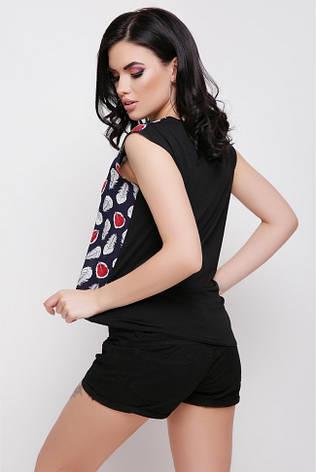"""Модна жіноча пряма синьо-чорна футболка з принтом Пір'ячко """"Belle"""", фото 2"""