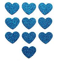 Синие сердечки сердца с глиттером (блестками) аппликации из фоамирана Латекса заготовки 3.8 см 10 шт/уп