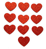 Красные сердечки сердца с глиттером (блестками) аппликации из фоамирана Латекса заготовки 3.8 см 10 шт/уп
