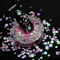 Камифубуки (кружочки) конфетти для дизайна ногтей, KH-MIX-01