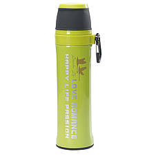Термос спорт бутылка Love Romance Sport с чашкой и карабином 500 мл зеленый, фото 2