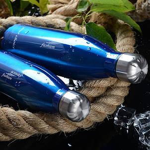 Термос спорт бутылка S'Well Sport глянцевая с надписями 500 мл синий, фото 2