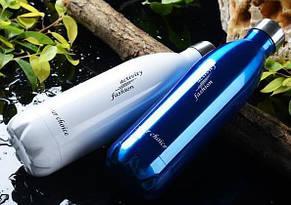 Термос спорт бутылка S'Well Sport глянцевая с надписями 500 мл синий, фото 3