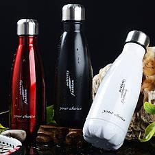 Термос спорт бутылка S'Well Sport глянцевая с надписями 500 мл черный, фото 2