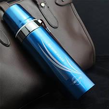 Термос с чашкой глянцевый для горячих и холодных напитков с шнурком  650 мл синий, фото 2