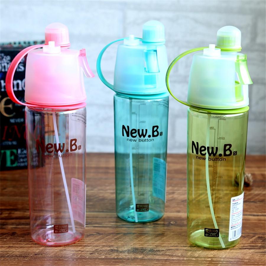 Спортивная фитнес спреер Бутылка New B. Green ( New Button Bottle) 600 мл с распылителем, шкалой и дозатором