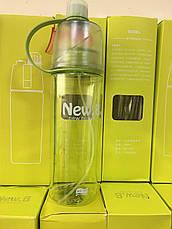 Спортивная фитнес спреер Бутылка New B. Green ( New Button Bottle) 600 мл с распылителем, шкалой и дозатором , фото 3