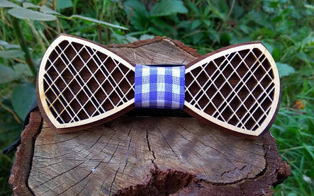 Деревянная бабочка галстук Орнамент Синяя клетка ручной работы, серия Fantasy, фото 2