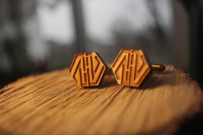 Деревянные запонки № 13 ручной работы, фото 2