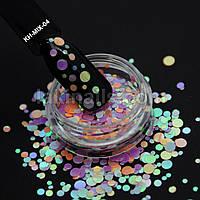 Камифубуки (кружочки) конфетти для дизайна ногтей, KH-MIX-04
