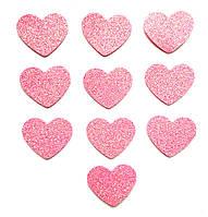 Розовые сердечки сердца с глиттером (блестками) аппликации из фоамирана Латекса заготовки 3.8 см 10 шт/уп