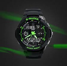 Водонепроницаемые спортивные наручные часы с LED подсветкой S-SHOCK Skmei Зеленый Черный