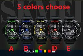 Водонепроницаемые спортивные наручные часы с LED подсветкой S-SHOCK Skmei Зеленый Черный, фото 2