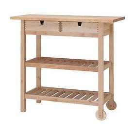 IKEA, FORHOJA, Столик с колесами, береза, 100x43 см (80035920)(800.359.20) ФОРХОЯ ИКЕА