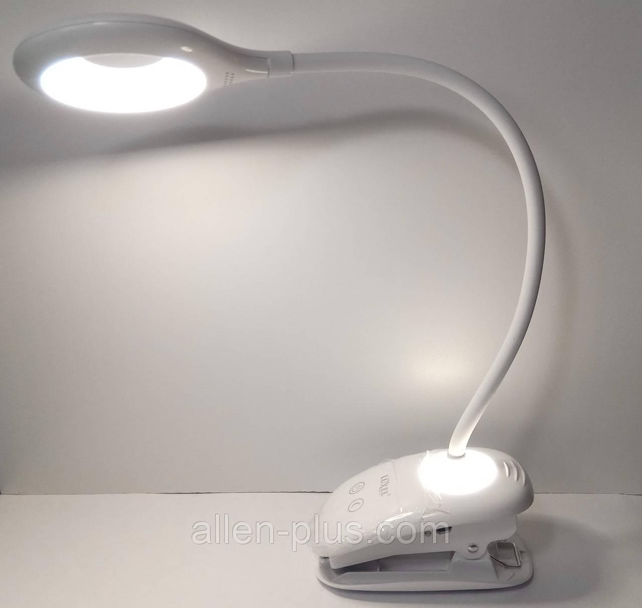 Настольная светодиодная лампа на прищепке Luxel TLC-04W, прищепка, 6W, IP20, USB, аккумулятор 1200 mAh, ночник