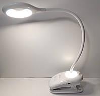 Настольная светодиодная лампа на прищепке Luxel TLC-04W, прищепка, 6W, IP20, USB, аккумулятор 1200 mAh, ночник, фото 1
