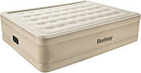 Двуспальная надувная велюровая кровать Bestway 69024 (203х152х51см, бежевая, встроенный электронасос, фото 1