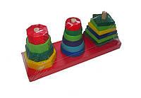 Пирамидка 3 в 1 деревянная