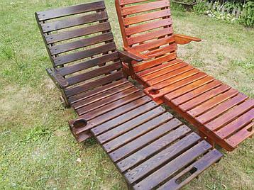 Деревянный садовый шезлонг 200х60 см, фото 2