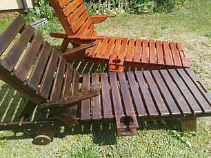 Деревянный садовый шезлонг 200х60 см, фото 3