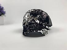 Кепка бейсболка с паетками черно-серебрянная, фото 2