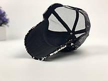 Кепка бейсболка с паетками черно-серебрянная, фото 3