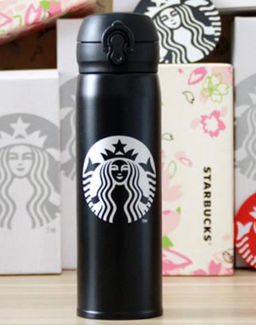Термос Starbucks New (Тамблер Старбакс) удлиненный 500 мл черный, фото 2