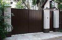 Распашные ворота из профлиста 3500х2000