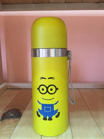Детский стильный термос Minions Миньон со шнурком  (Посипаки, Гадкий Я) 350 мл, фото 2