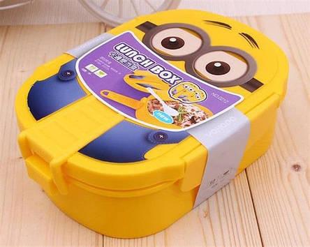 """Стильный контейнер для обедов Ланч бокс """"Миньон"""" с ложечкой в комплекте, фото 2"""
