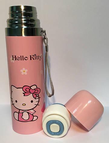 Термос детский SUNROZ Hello Kitty с чашкой и шнурком Желтый 500 мл (SUN0026), фото 2