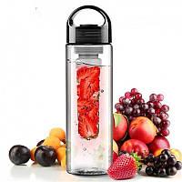 Бутылка для воды и напитков SUNROZ Fruit Bottle с контейнером для фруктов 800 мл Черная (SUN0095)