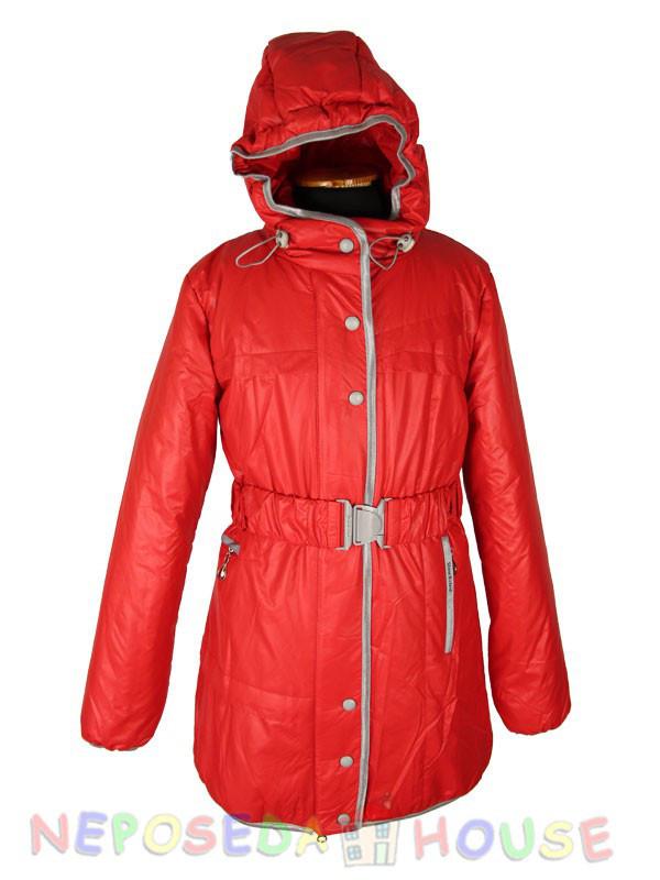 Куртка подростковая демисезонная  Moonbox для девочки  10-12 лет удлиненная красная