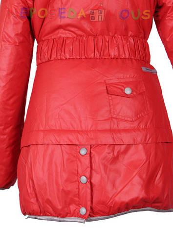 Куртка подростковая демисезонная  Moonbox для девочки  10-12 лет удлиненная красная, фото 2