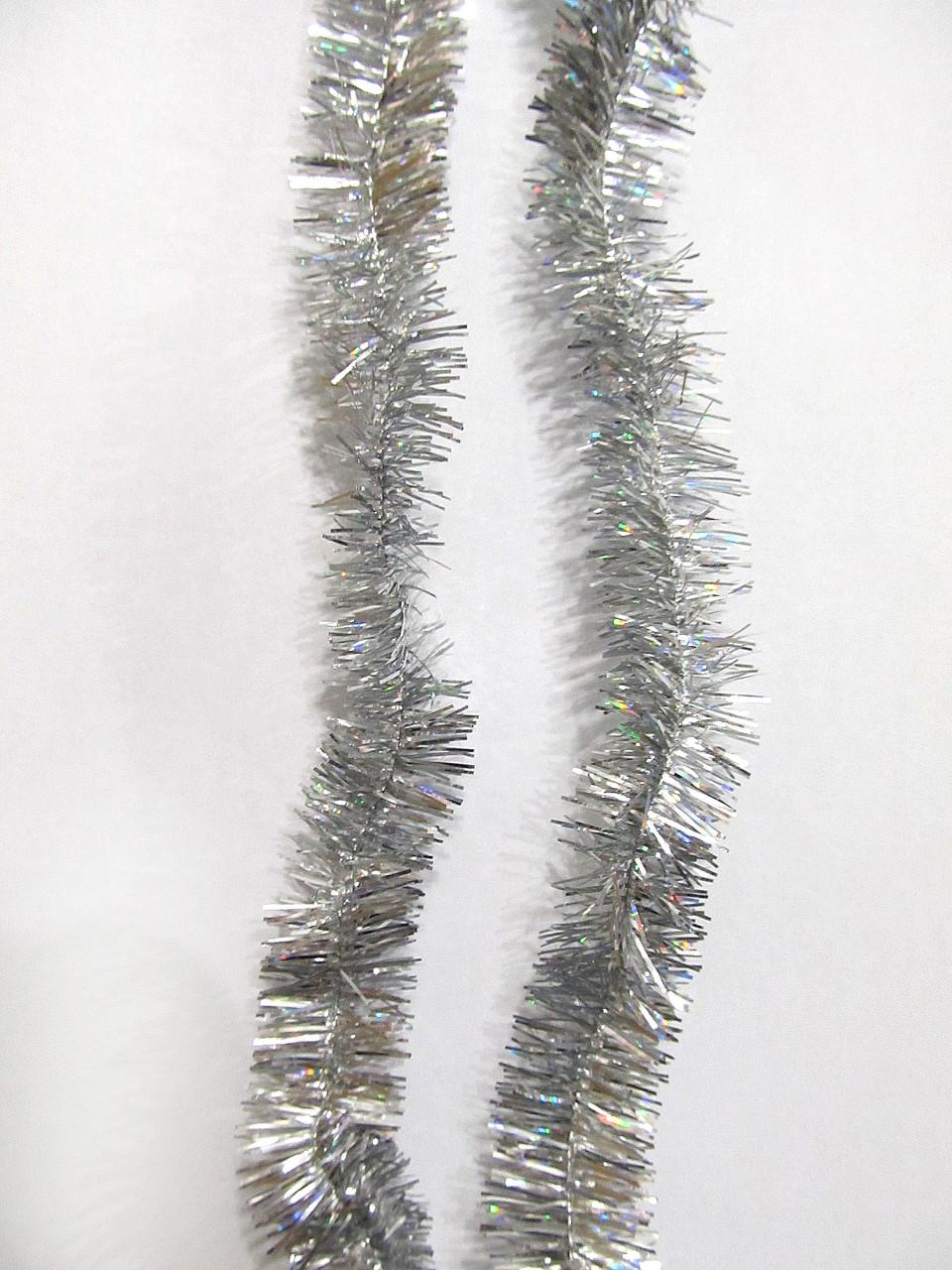 2 см диаметр Мишура дождик Серебро, Длина 3 метра
