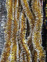 2 см диаметр Мишура дождик Золотой с белыми кончиками, Длина 3 метра