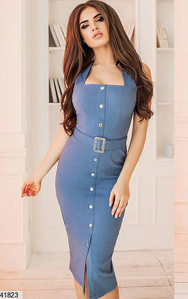 Красивое платье миди однотонное с поясом и пуговицами цвет джинс, фото 2