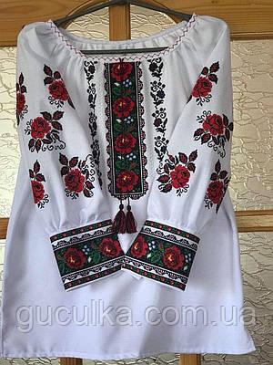 Вишита жіноча блуза квітковий орнамент на домотканому полотні 959270d8b97a4
