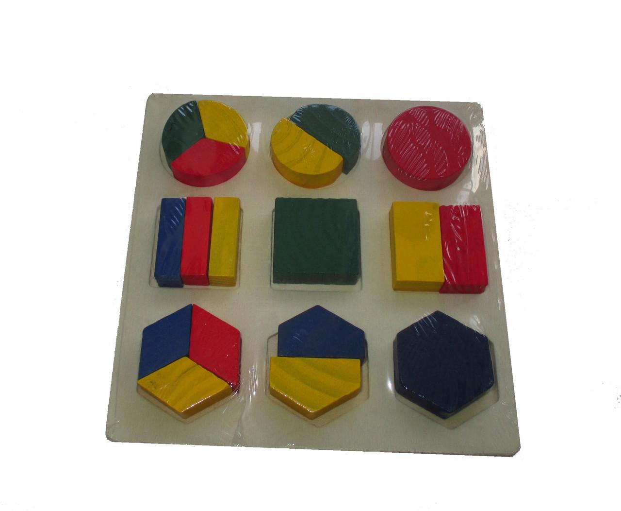 Деревянная игрушка дроби 3 в 1